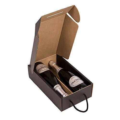 KARTOX   Estuche para 2 Botellas   Caja de cartón para Cava o Champagne   Caja de Color Negro Mate   4 Unidades