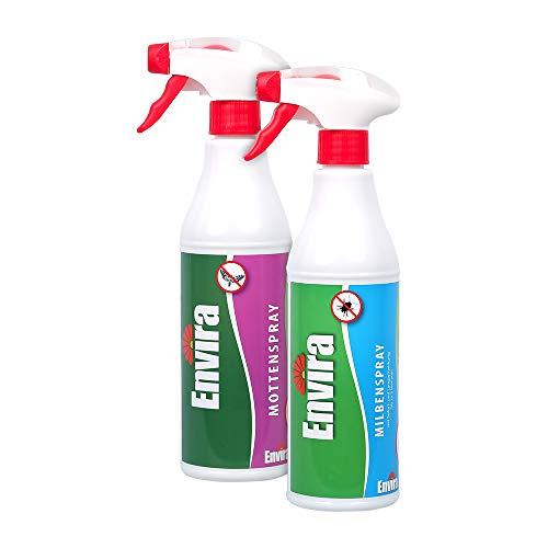 Envira Textilien Pack - Milbenspray & Mottenspray - Geruchlos, auf Wasserbasis & mit Langzeitwirkung - Je 500 ml