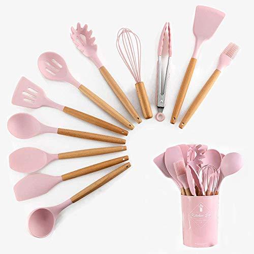 HENSHOW Kit Ustensiles de Cuisine, 12Pièces Ustensiles de Cuisine Ensembles Silicone Comprend Porte-Ustensile - Outil de Cuisine Antiadhésif pour Cuisine avec Poignée en Bois (Couleur Rose)