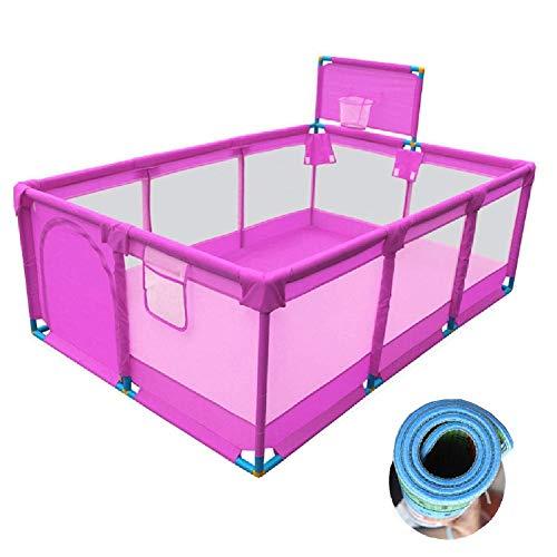 CCLLA Laufstall Tragbares Baby für Mädchen, Kleinkind-Sicherheitsspielplatz, Spielhaus mit Anti-Rutsch-Pads und Basketballkorb (Größe: 190 & Times; 128 & Times; 66 cm)
