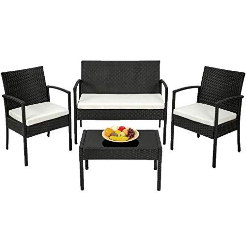 Am Group Home Set Mobili Giardino 4 posti con tavolino, poltroncine, divanetto in polyrattan Esterno Giardino, Salottino da Giardino - Sirio (Marrone)