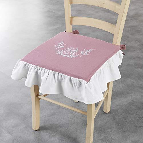 douceur d'intérieur Bonheur Galette +Volant 40 x 3 cm Polyester Brode Bonheur Polyester, Rose/Blanc, 40x40 cm