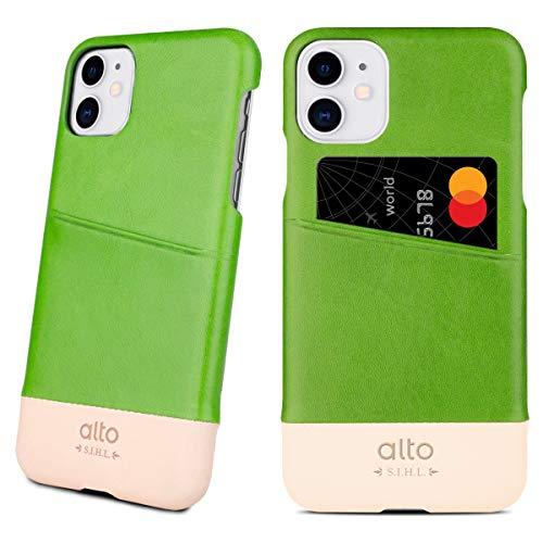 Alto Metro iPhone 11 イタリア製 本革 レザー iPhone ケース ハンドメイド (ライム/オリジナル)