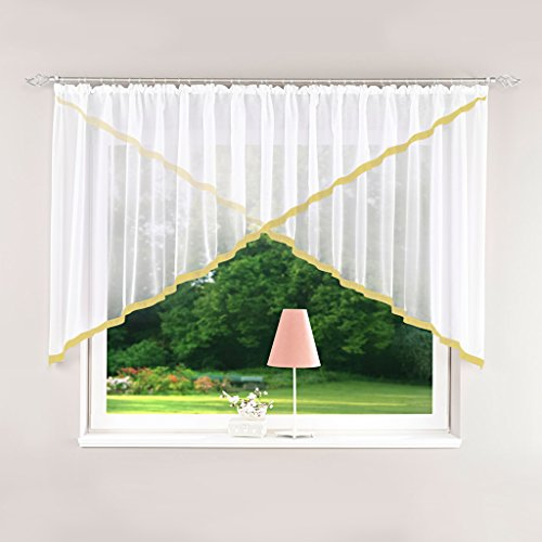 Yujiao Mao Voile Kuvertstore Scheibengardine mit Satinband Faltenwurf Vorhang mit Kräuselband Sand BxH 400x120cm
