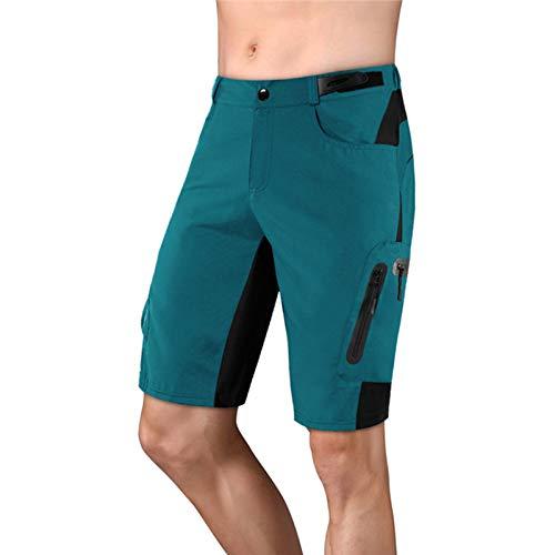 Pantalones Cortos de Ciclismo MTB para Hombre,Shorts de Bicicleta de Secado Rápido Pantalones Cortos Transpirables,Livianos y Holgados Ropa Deportiva Interior al Aire Li(Size:XXXL,Color:Verde Oscuro)