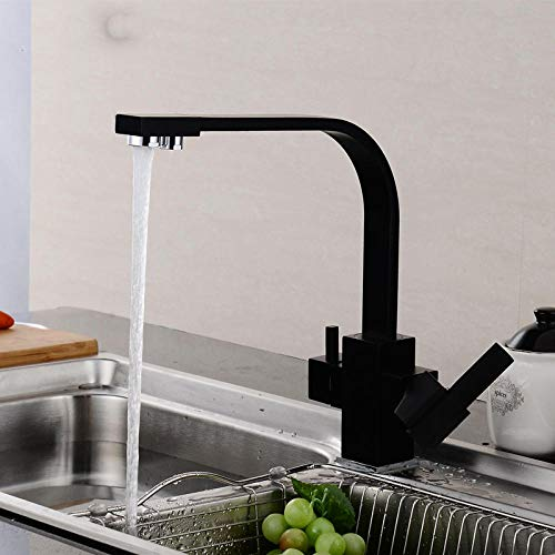 WANDOM Zwarte Vierkante Keukenkranen 360 Graden Rotatie 3 Manier Water Filter Tap Water Kraan Massief Messing Keuken Sink Kraan Zwart