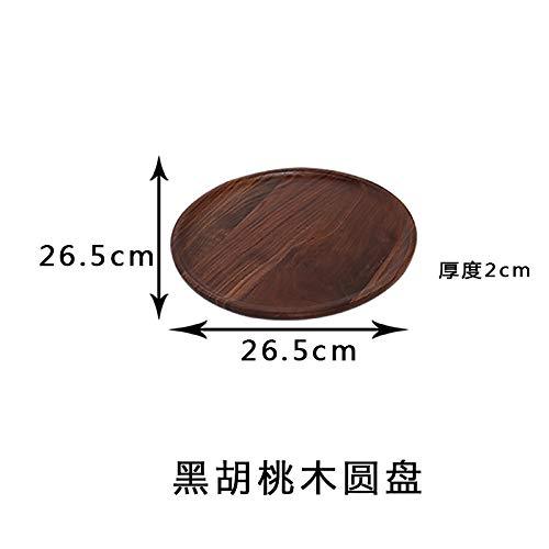 CZHJG Massivholz Teetablett Rechteckige Brotteller Gummi Holzplatte Japanische Kreative Dessert Holzschale 26,5X2Cm