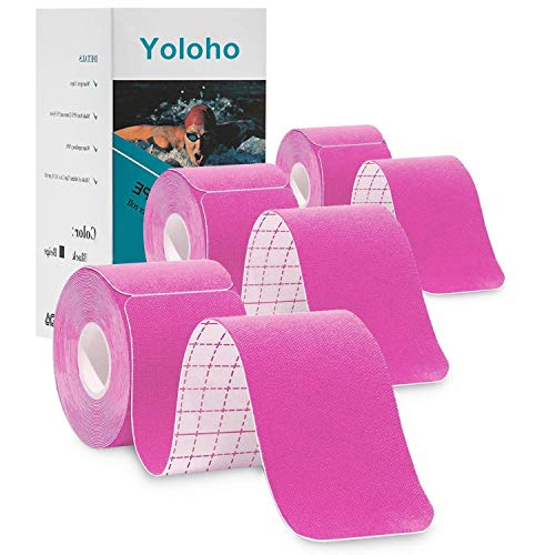"Kinesiology Tape 3 Rolls Precut, Yoloho Elastic Therapeutic Sports Tape for Shoulder, Knee, Elbow, Latex Free, Water Resistant, Breathable, 2"" x 16.5 feet Per Roll, Total 60 Precut Strip (Pink)"