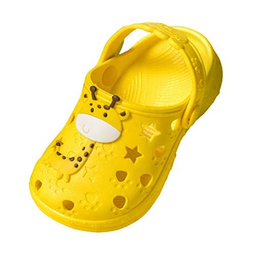 Sandalen Kinder Jungen Sommer Schuhe Geschlossen Clogs Mädchen Hausschuhe Atmungsaktiv Riemen Strand Leicht Outdoor Unisex Gelb Gr 30 31