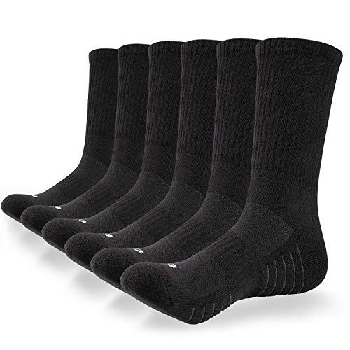 coskefy Socken Herren Damen Baumwolle Sneakersocken 6 Paare Lange Warm Wandersocken mit weicher Polsterung und Retro Streifen Weich Sportsocken für Fitness Tennis Trekking Joggen Laufen Alltag