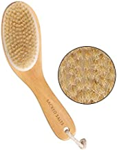 Sacred Salts Wooden Bath Brush for Dry Brushing   Natural Boar Bristles with Contoure Angled Wooden Handle   Dry Brushing Removes Dead Skin & Stimulates Blood Circulation