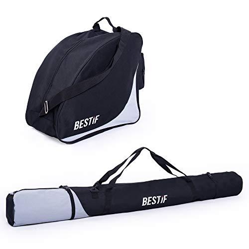 BESTIF Skitasche + Skischuhtasche Set für Ski bis 175 cm | wasserdicht Skibag Stiefeltasche für Skischuhe | Skisack Schwarz | Skicase mit Tragegurt | reißfeste Tasche (Schwarz-Grau)