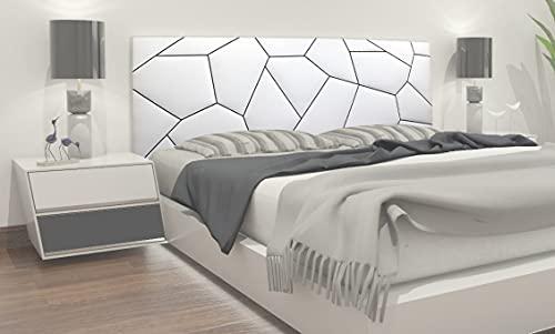 TEXFYNO Cabecero Cama Fabricado con Polipiel y Acolchado Bordado geométrico-CA125 (150 * 60cm, Blanco y Negro)