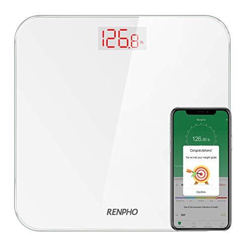 RENPHO Bluetooth Personenwaage mit BMI, Ultraschlanke Körperwaage Smart Digitale Waage mit Smartphone App Hintergrundbeleuchtetes LCD-Display 400 lbs/ 180Kg Weiß