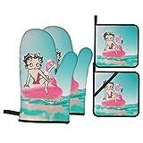 yongxing Betty Boop Beach - Juego de guantes de horno y soportes de cacerola (4 piezas), para colgar en la cocina, guantes y manopla de horno para barbacoa antideslizantes