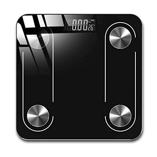 BINGFANG-W Discs Waage Badezimmer Fettwaage, Körpergewicht Waage, Scientific Smart Electronic Backlit Digital, Bluetooth, 180kg, Schwarz Abrasive