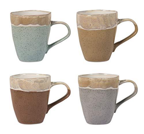 H&H Malika Set 4 Mug, Stoneware, Colori Assortiti, 370 ml