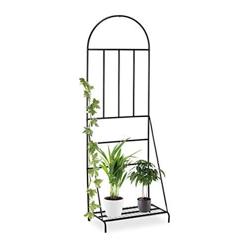 Relaxdays, schwarz Blumenregal mit Rankgitter,Garten, Balkon, Terrasse, Stahl, Pflanzenständer, HxBxT 200 x 70 x 40 cm