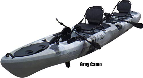 BKC PK14 Angler 14' Tandem Sit-On-Top Fishing Kayak, Propeller-Driven w/ Instant Reverse Dual Pedal Drive, Rudder System, Paddles, and Upright Aluminum Frame Backrest Support Seats