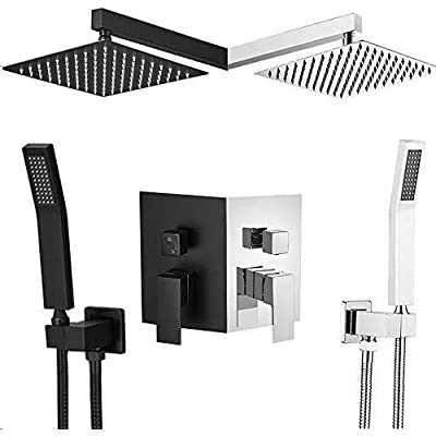 Amazon - 60% Off on  Rainfall Shower Systems(10″, Chrome),Rainfall Shower Head System with Handshower,Shower Faucet
