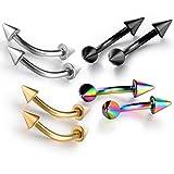 Feilok, piercing con barra curva da labbro, sopracciglio e orecchio, in acciaio, in 4colori, acciaio inossidabile, colore: Colour (4 Pairs), cod. ERRHSY0056-4