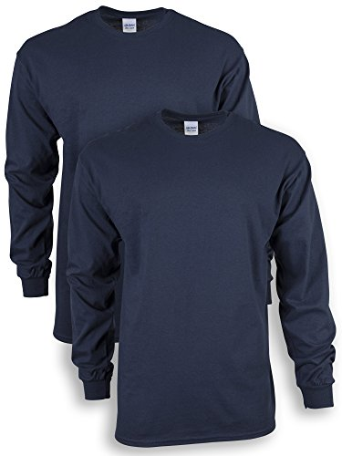 Gildan Men's Ultra Cotton Adult Long Sleeve T-Shirt, 2-Pack, navy, Large