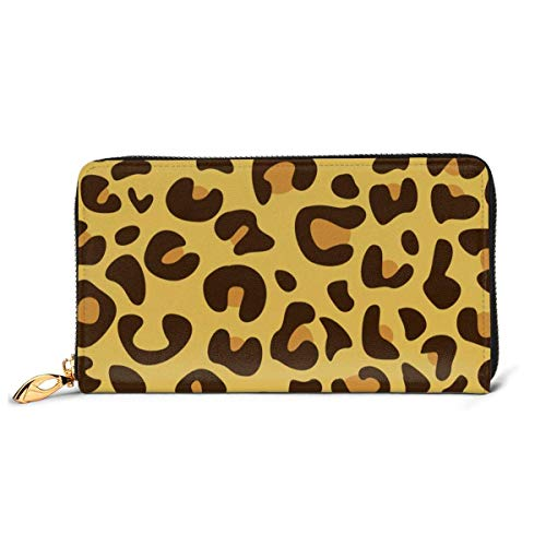 Leopard Skin Wallets for Men Women Long Leather Checkbook Card Holder Purse Zipper Buckle Elegant Clutch Ladies Coin Purse