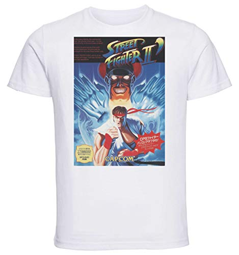 Instabuy T-Shirt Unisex - White Shirt - Game Cover Street Fighter 2 Size Medium