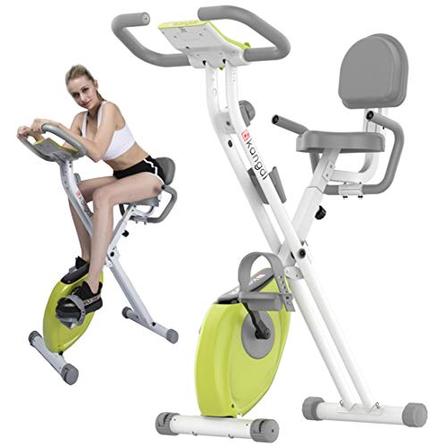 Amazing Deal SSCJ Folding Home Exercise Bike with Backrest, Indoor Exercise Bike with LCD Display Fo...