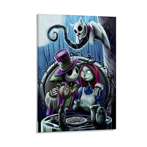 Ghychk The Nightmare-Before-Christmas Jack Skellington Sally Art Paintings, impresión a la moda, decoración del hogar para dormitorio 50 x 75 cm
