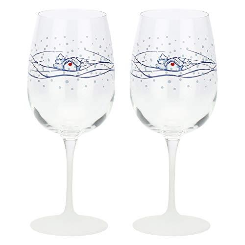 THUN ® - Set 2 Calici Vino - Linea Chiaro di Luna - Vetro Decorato - 500 ml - h Calice 21,2 cm