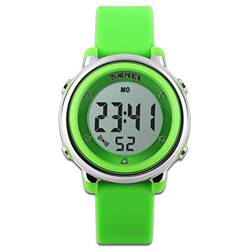 Orologio sportivo per bambini con cronometro e retroilluminazione a 7 LED, funzione Time Teacher, cinturino in silicone blu, bianco e verde, orologio