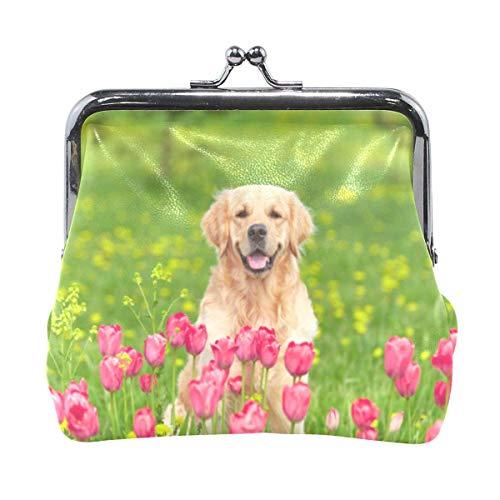 Münzgeldbörse Vintage Pouch Retriever Sitzen Tulpe Blumenfelder Schnalle Clutch Bag Kiss-Lock Kleine Brieftasche Card Change Holde