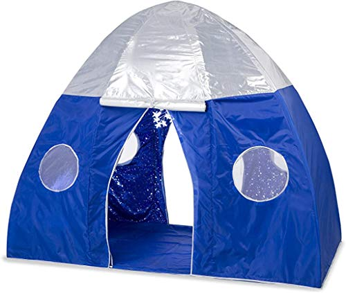 HearthSong Galactic Space Bed Tent Playhouse - Electric Interior Starburst Led Light with Ul Connection – 2 Doors & 4 Windows - Fits Twin Size Mattress, 3.25' x 6' x 5' H, Blue & Silver