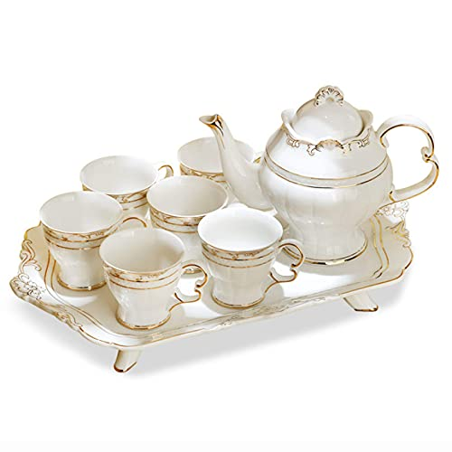 Tea Set For Adults Porcelain Coffee Cup Sets For Afternoon Tea White Coffee Mugs Ceramic Teapot Tea Tray For Home Office Wedding