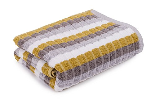 Toalla de mano Chester de rayas de color mostaza marrón baño súper suave 100% algodón egipcio 580gsm pasillos®: Amazon.es: Hogar
