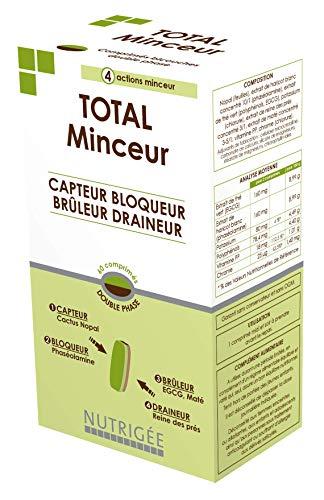 Total Minceur • Minceur 4 en 1 • Comprimé Bicouche • Cactus Nopal • Phaséolamine • EGCG • Maté • Reine des Prés • Chrome • Vitamine PP • Fabriqué en France • Nutrigée