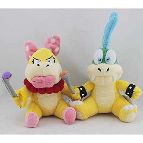 Super Mario Plush Koopa Larry and Wendy 2pcs Doll Stuffed Animals Figure Soft Anime Collection Toy