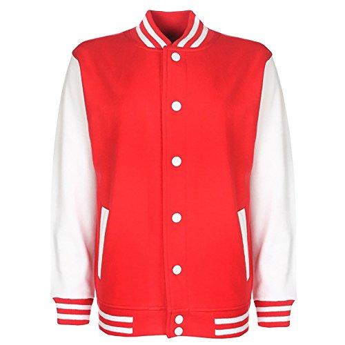 FDM Junior / Kinder Unisex College-Jacke mit kontrastfarbenen Ärmeln 7-8 Jahre,Feuerrot/Weiß
