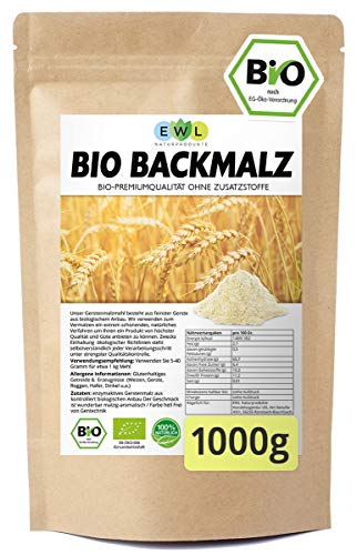 Backmalz 100% Bio Malz | 100% Gerste Gerstenmalz Backmalz für Brot und Brötchen | enzymaktiver und ballaststoffreicher Mehlzusatz | Gerstenbackmalz Brötchenbackmittel Vegan 1kg