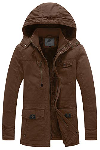 WenVen Men's Winter Thicken Cotton Parka Jacket Warm Coat with Removable Hood