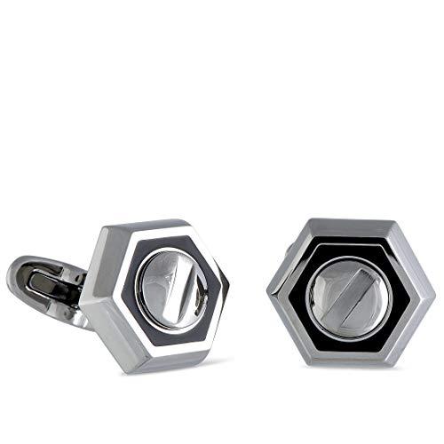 CHARRIOL Rotonde Stainless Steel Black Enamel Hexagon Cufflinks