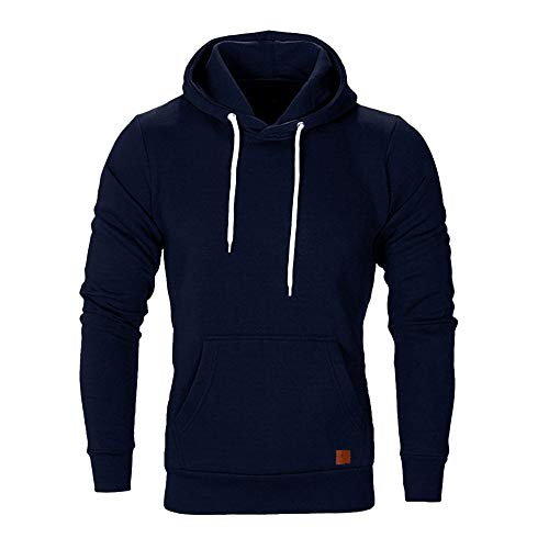 Herren Sweatshirt Kapuzenpullover Pullover Hoodie Hoher Kapuzenansatz Känguru-Tasche Gerippte Ärmel und Abschlussbündchen Sweatjacke Casual Streetwear Basic Style, Marine, M