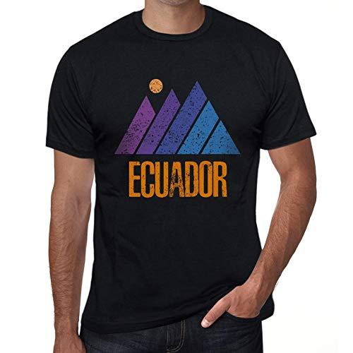 One in the City Hombre Camiseta Vintage T-Shirt Gráfico Mountain Ecuador Negro Profundo