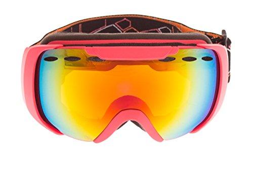 Crivi®t Kinder Ski- & Snowboardbrille - Jungen / Mädchen - Brille - 100% UV-Schutz orange/pink/schwarz