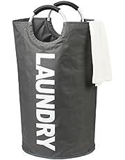 DOKEHOM 82L ランドリーボックス 洗濯バスケット ランドリーかご 洗濯ボックス 収納ボックス 収納バッグ 脱衣かご シンプル 防水取っ手付き 折りたたみ(全6色ダークグレー, L)