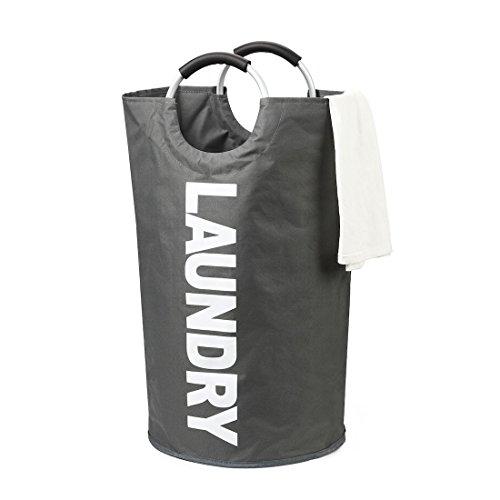 DOKEHOM 82L Large Laundry Basket (6 Colors), Collapsible Laundry Hamper, Foldable Clothes Bag, Folding Washing Bin (Dark Grey, L)