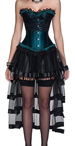 r-dessous sexy Corsagenkleid Corsage + Rock Mini Kleid schwarz grün Cocktailkleid kurz Partykleid Abendkleid Groesse: L