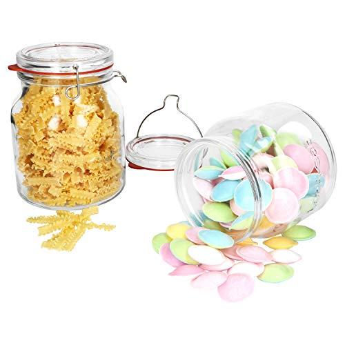 Luigi Bormioli Set di 2 barattoli Lock-Eat XL da 1,5 e 2 Litri, per marmellata, Pasta, cetrioli, ECC. I contenitori Grandi con Coperchio in Vetro e Chiusura a Staffa I Jar
