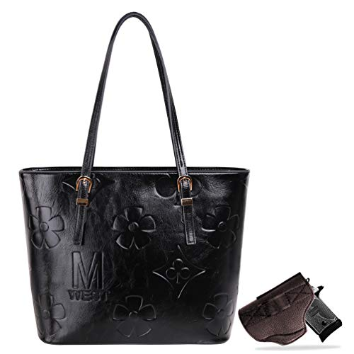 Montana West Large Concealed Carry Leather Hobo Purse For Women Monogram Tote Bags with Detachable Holster Black MWC-G018BK